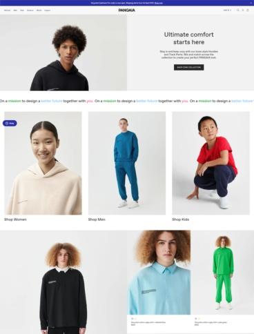 eCommerce website: Pangaia