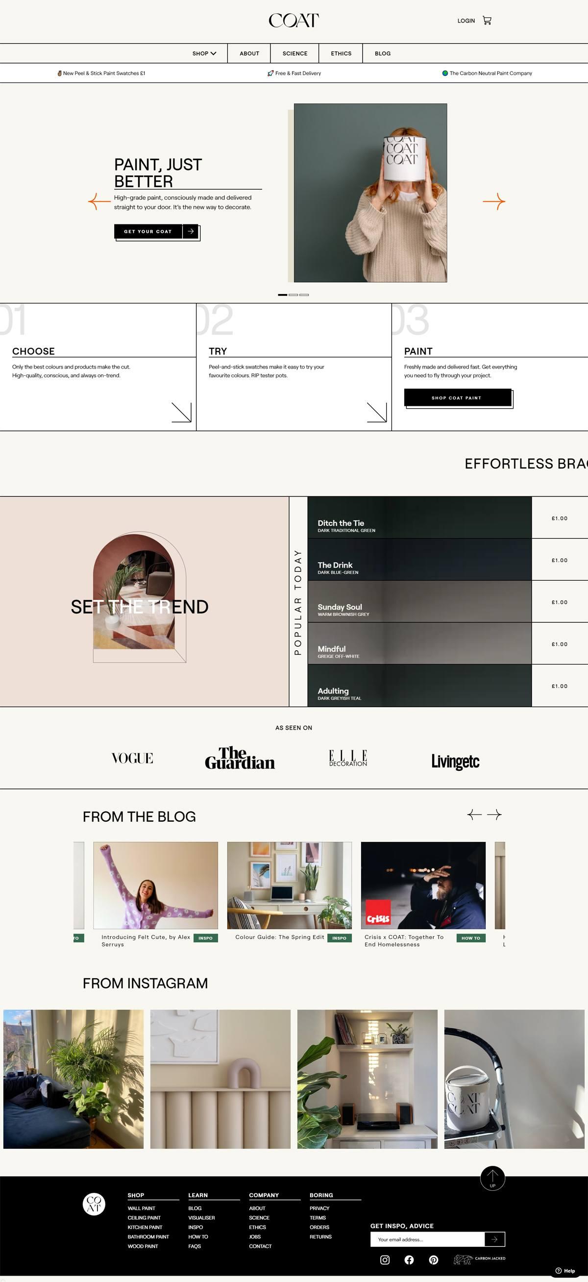 eCommerce website: Coat