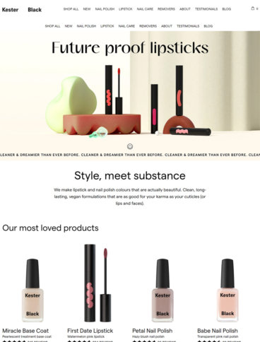 eCommerce website: Kester Black