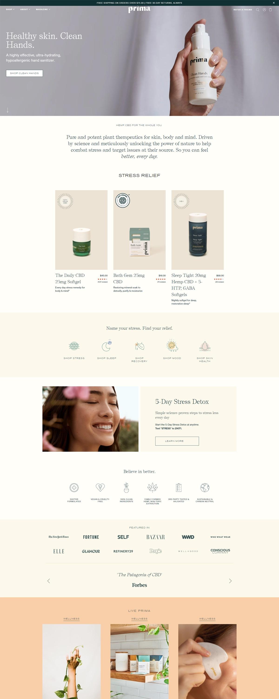 eCommerce website: Prima