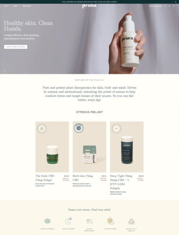 eCommerce website: Prima