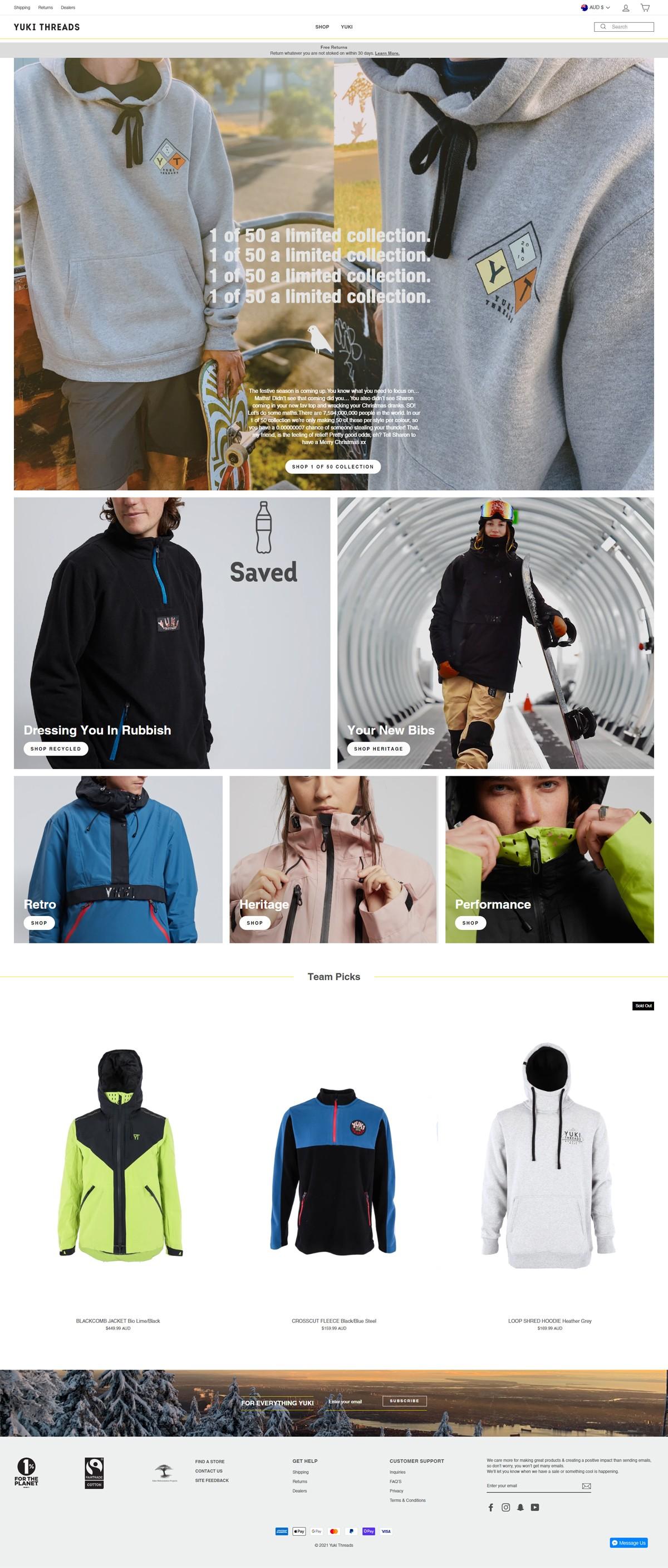 eCommerce website: Yuki Threads