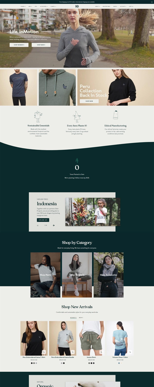 eCommerce website: tentree