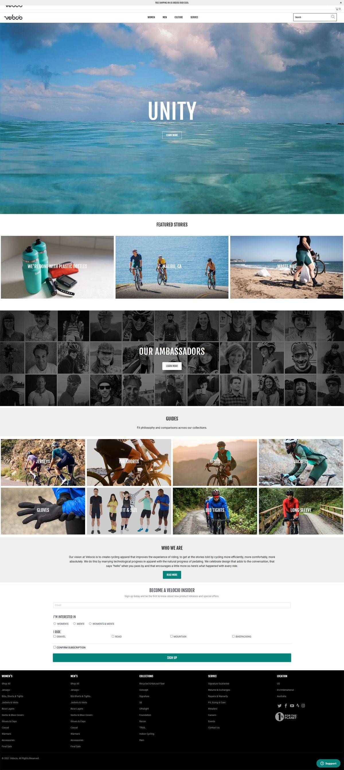 eCommerce website: Velocio Apparel