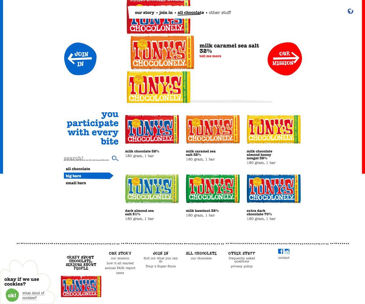 eCommerce website: Tony's Chocolonely