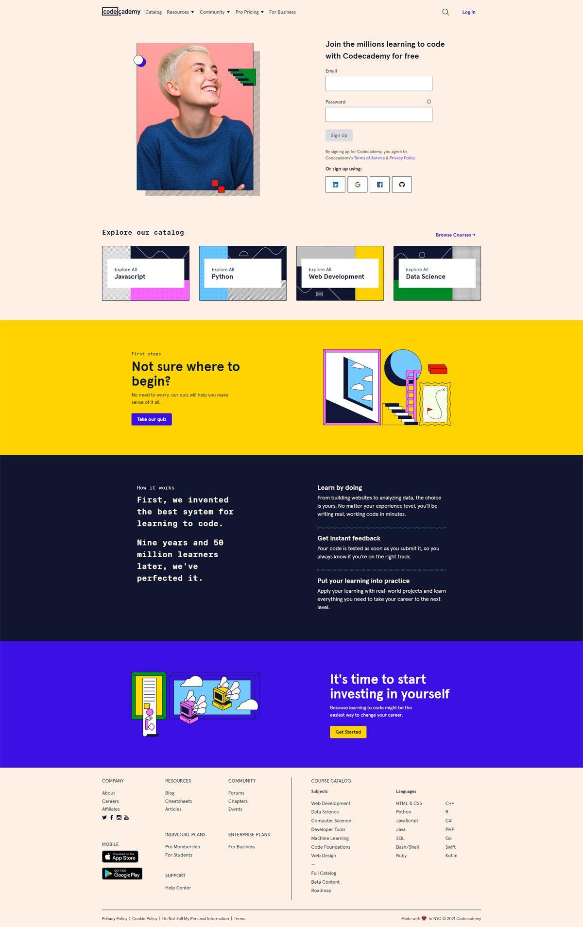 eCommerce website: Codecademy