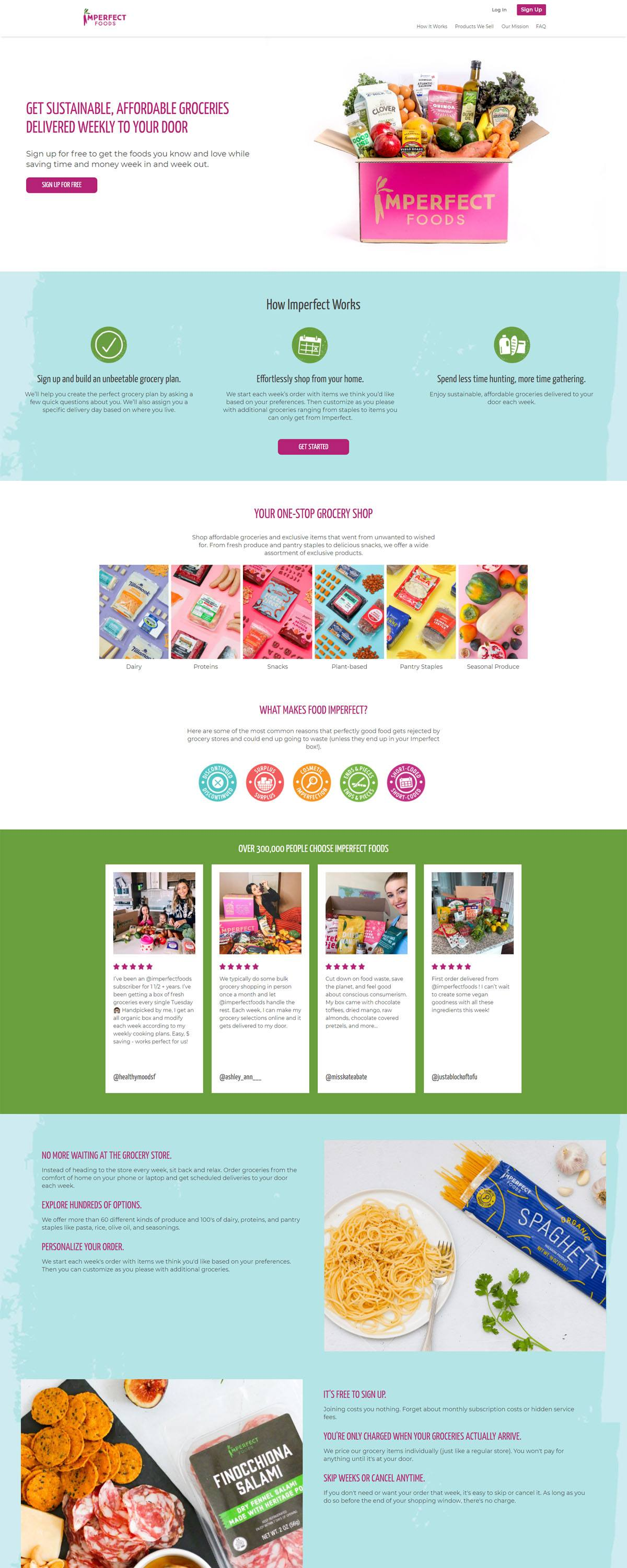 eCommerce website: Imperfect Foods