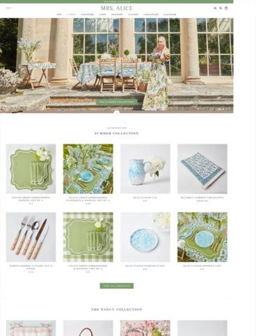 eCommerce website: Mrs Alice