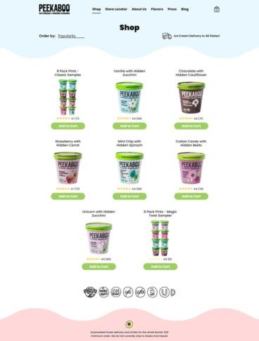 eCommerce website: Peekaboo