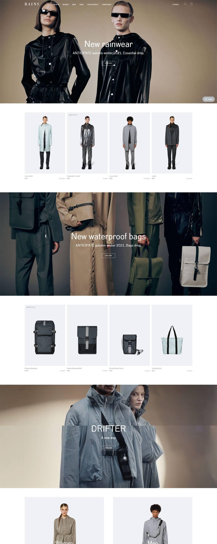 eCommerce website: Rains