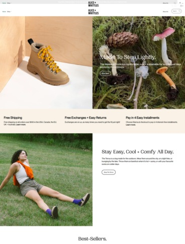 eCommerce website: Alice + Whittles