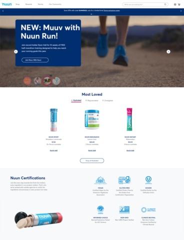 eCommerce website: Nuun