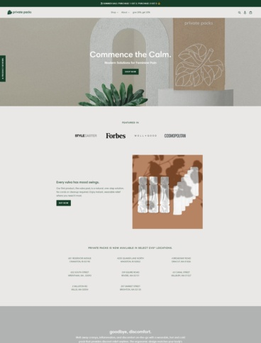 eCommerce website: Private Packs