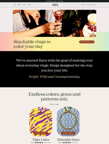 eCommerce website: Rara Jewelry