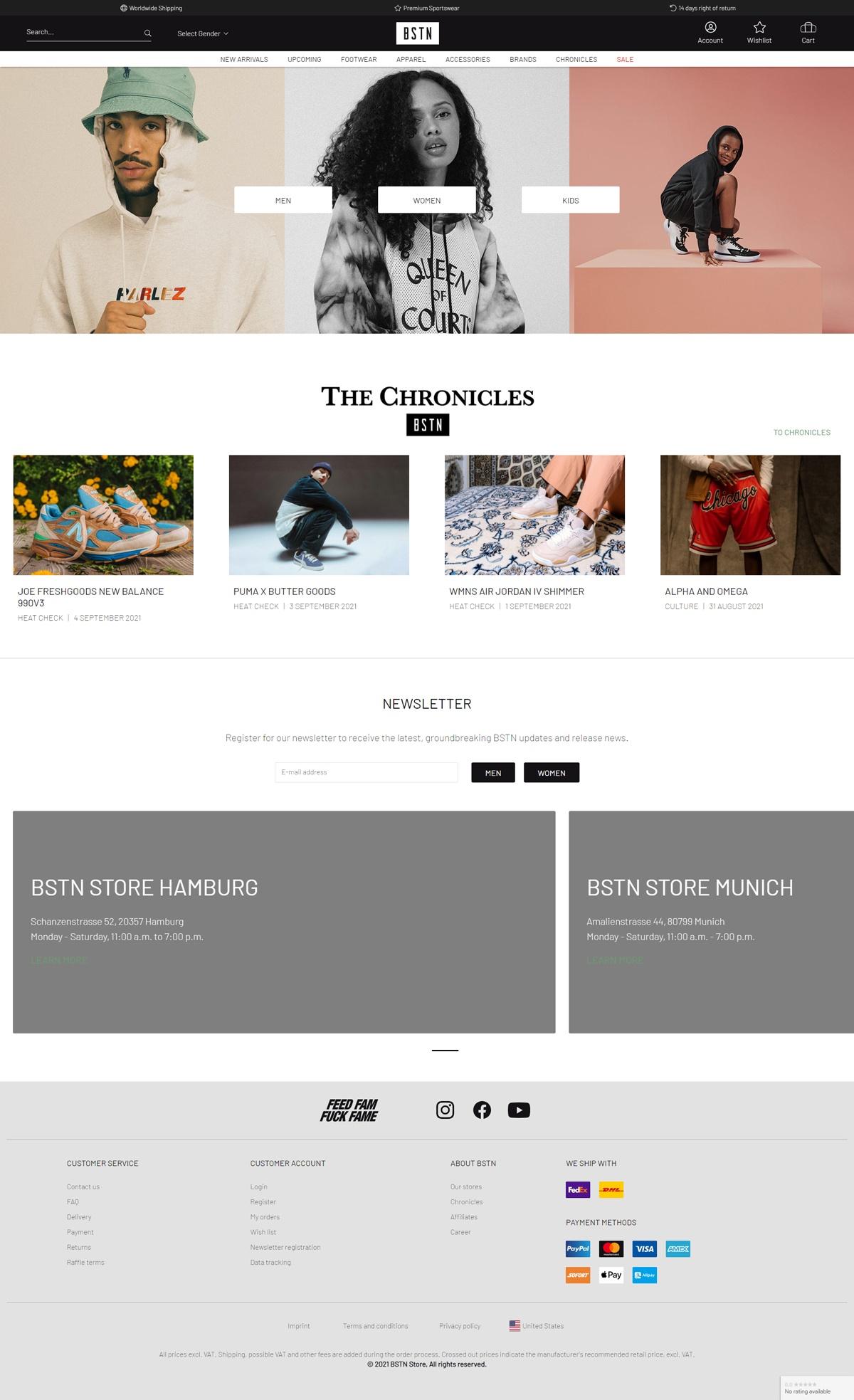 eCommerce website: BSTN Store