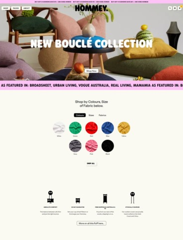 eCommerce website: Hommey