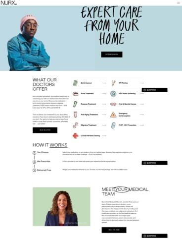 eCommerce website: NURX