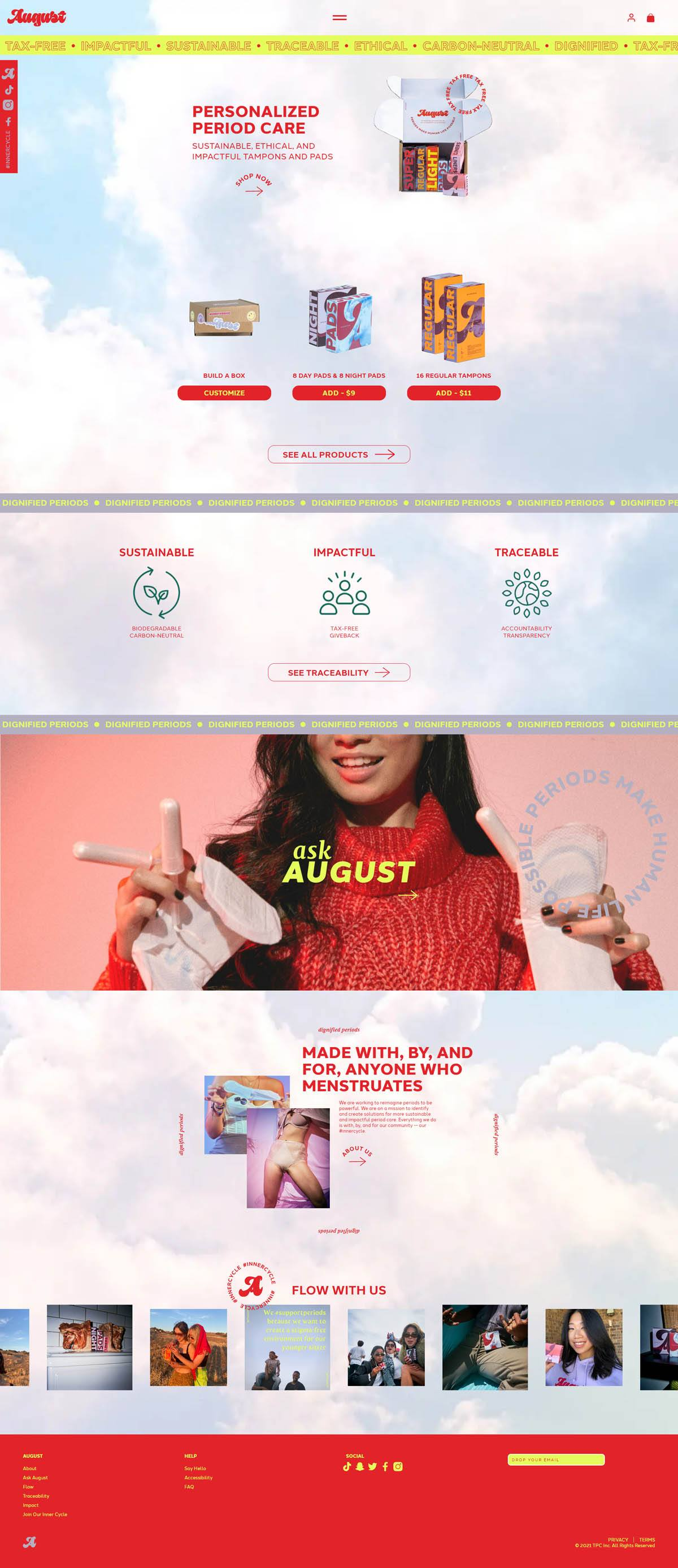 eCommerce website: August