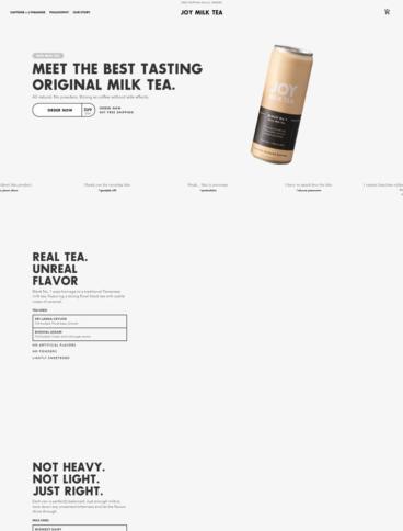 eCommerce website: Joy Milk Tea